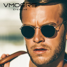 VMOERS Retro Small Round Sunglasses Men Vintage Brand Shades Male Black Metal