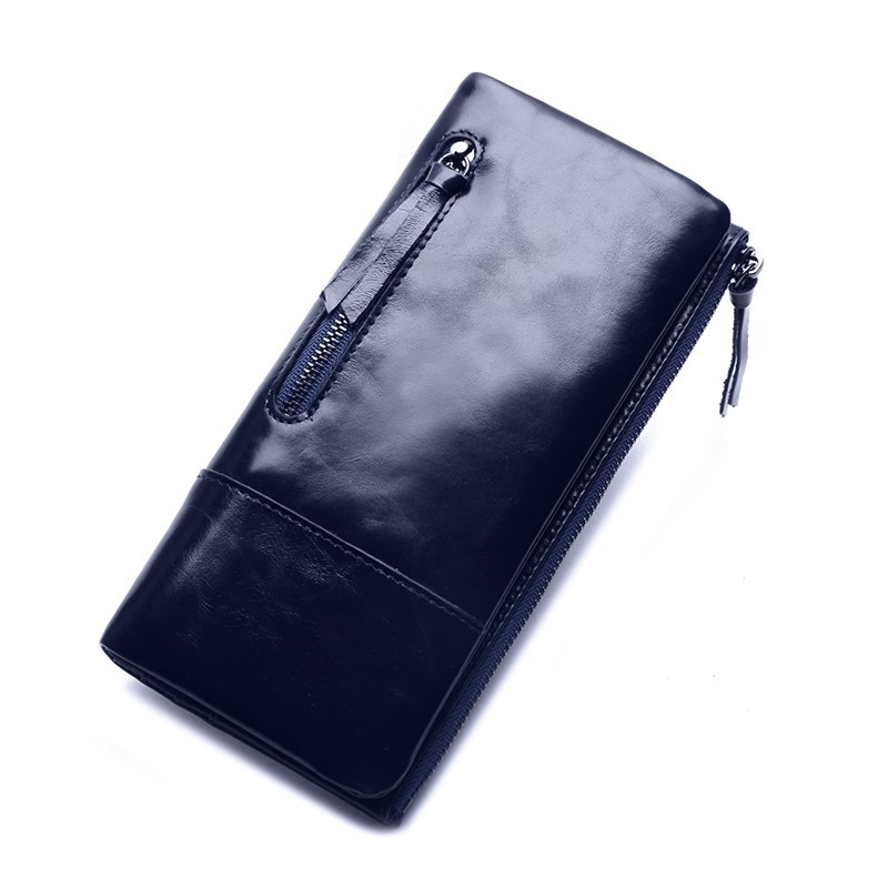 Luxury Wax Oil Genuine Leather Women Wallet Long Zipper Women Leather Purse Famous Brand Wallet Female Coin Purse Card Holders