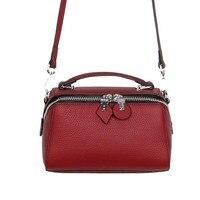 Fashion Boston Bag Female Genuine Leather Solid Shoulder Crossbody Messenger Bag Pillow Type Handbag Bolsas Feminina