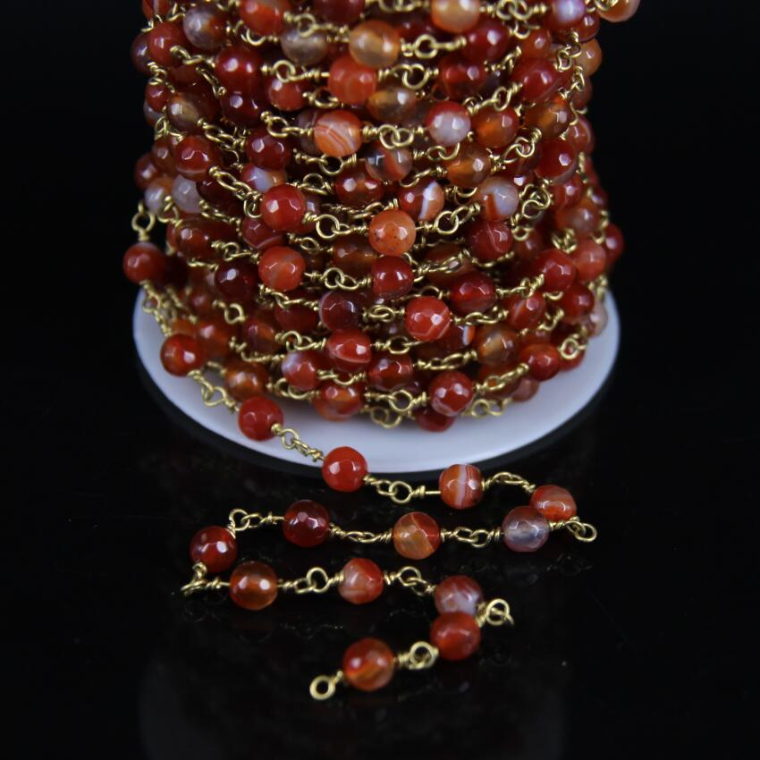 6mm size,Natural Agates Faceted Round Bead Chain,Orange Red Gems Stone With Brass Copper Wire Wrapped Rosary Chain