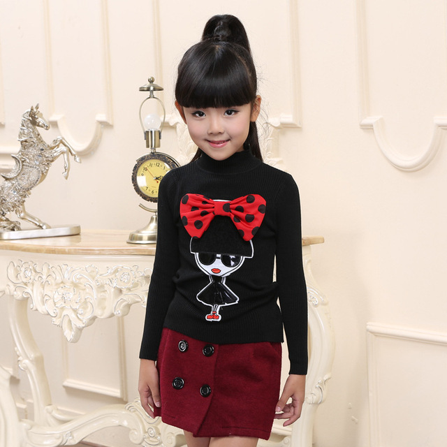 Moda otoño suéter niños suéter patrón de la muchacha muchachas del resorte suéter 4-6-9 niños ropa de invierno blanco completo-suéter del o-cuello