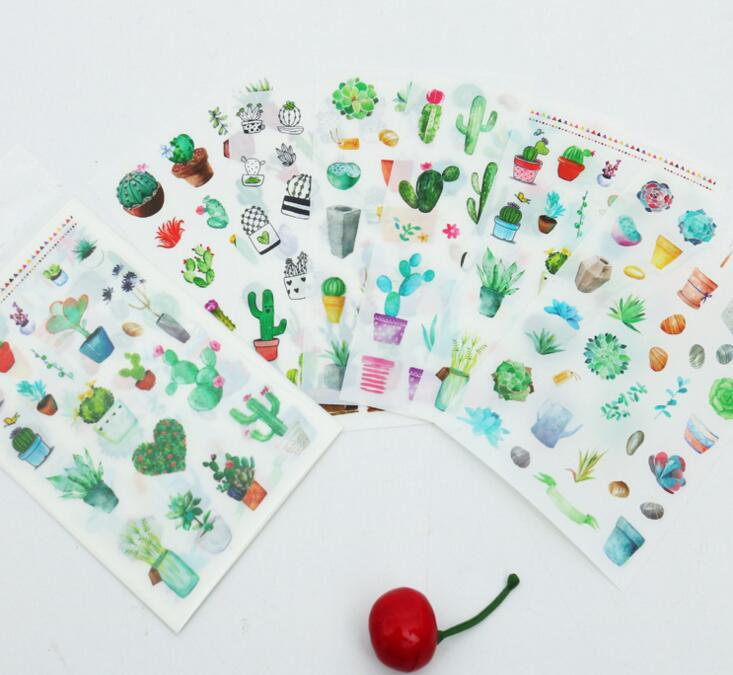 6pcs Cute cactus pvc Transparent Organizer Calendar Diary Book Planner Sticker Scrapbook Decoration papeleria sale sea wave stairs sticker 6pcs