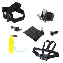 ZJM For Gopro Equipment Package Hand Mount Strap + Chest Belt Head + Floating Bobber Monopod Go professional Hero four three Sj4000 Set