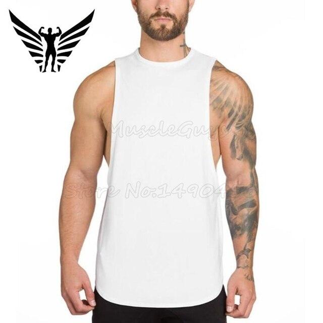 Muscleguys marca academias clothing mens parte superior do tanque longarina  singlet musculação aptidão colete personalizado impresso b1a942b5a2c
