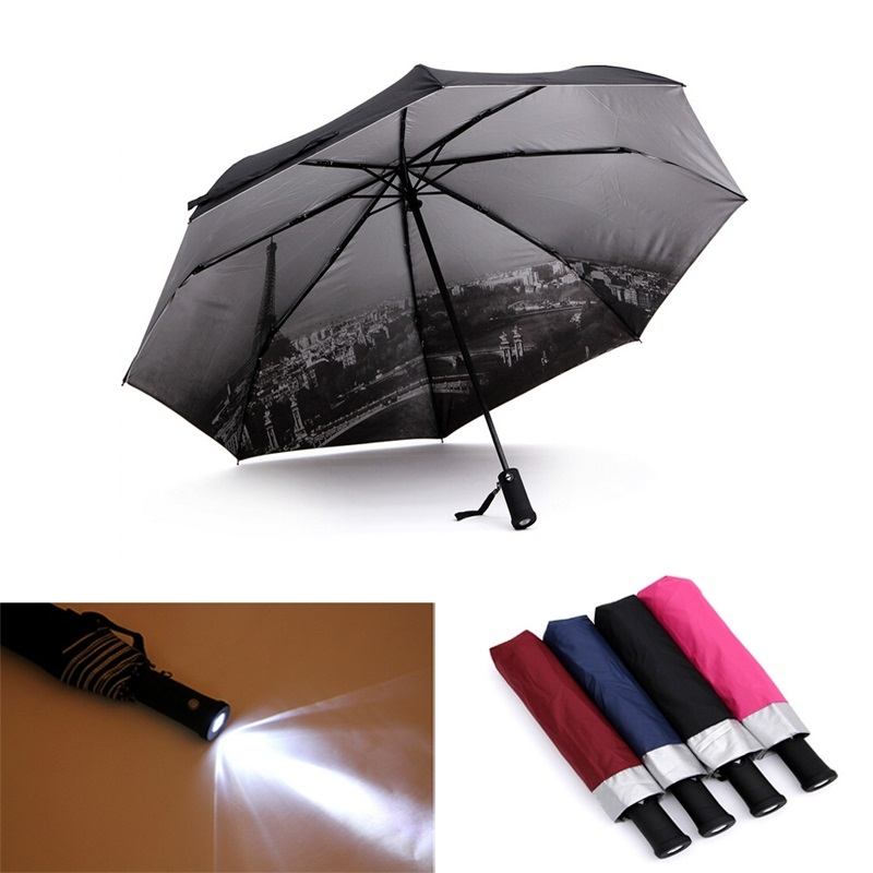 Black/brown/Blue/Rose Red Sunshade three folding sun umbrella with LED flashlight lamp 3 x AAA Batteries (Not Included)