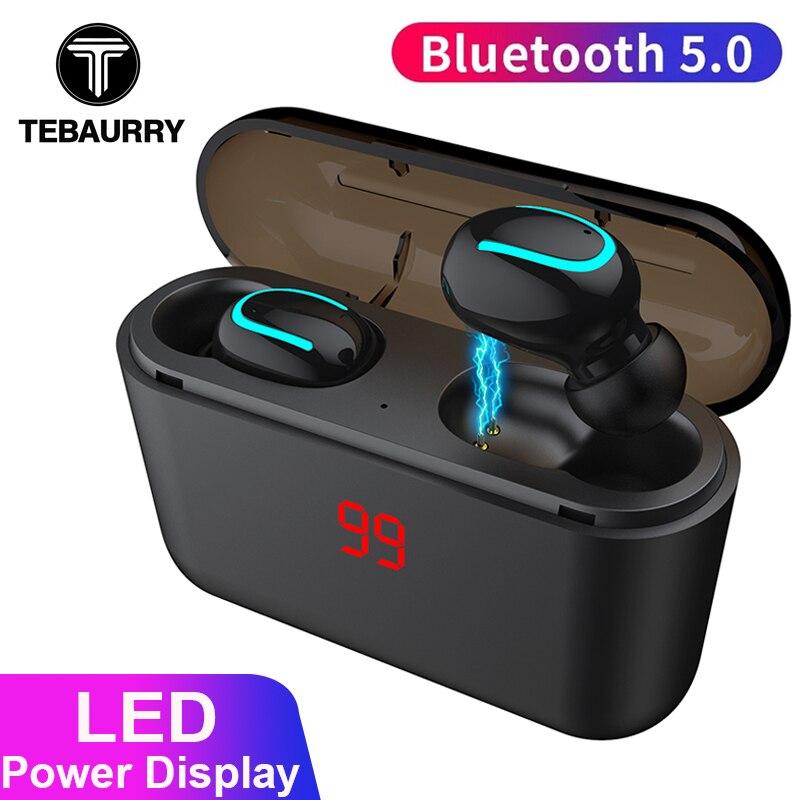 TEBAURRY Bluetooth Earphones 5.0 TWS Wireless Earphones Bluetooth Headphone Stereo Earbuds with charging box 1500 mAh Power bank