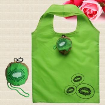 Hot Eco Storage Handbag Kiwifruit Foldable Shopping Bags Reusable Folding Grocery Nylon Large Bag Shopping Bags