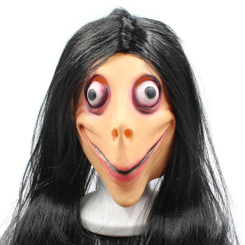 2019 New Challenge Game Creepy Momo Mask Halloween Hot Scary Full Face Momo Mask with Big Mouth and Wigs 3 Types