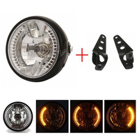7 H4 35W 12V Motorcycle Headlight Turn Signal Indicators LED Moto High/Low Beam Headlamp For Cafe Racer Harley Curisers Chopper