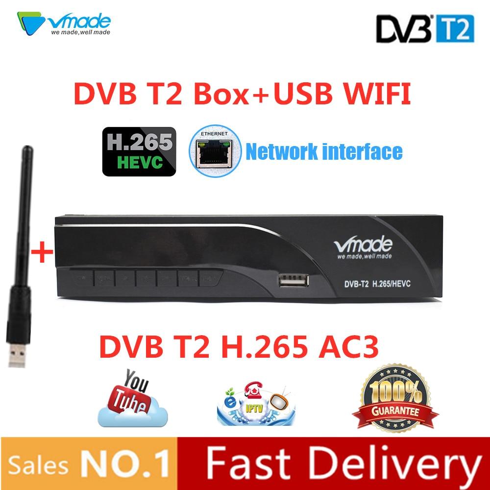 Vmade T2 DVB-T2 BOX TV + WIFI DVB Terrestre receptor de TV box suporte H.265 RJ45 Porta Dolby WI-FI Youtube megogo Set Top Boxes