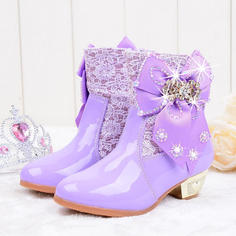 2018 Girls Princess High Heeled Snow Boots with Butterfly   Plush ... 43a48f5a485d