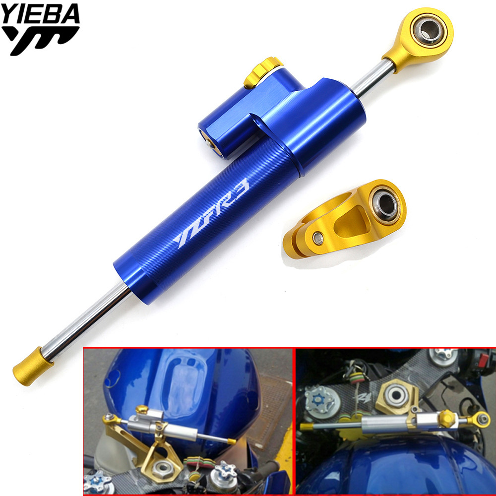 YZFR3 LOGO Universal Motorcycle Steering Stabilizer Damper Safety Control For YAMAHA YZF-R3 YZFR3 YZF R3 R1 R6 R15 R25 YZF600R motorcycle steering damper stabilizer with mounting bracket adapter set for yamaha yzf r1 yzfr1 yzf r1 1999 2005
