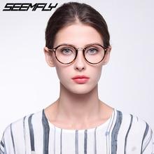 Seemfly Retro Round Glasses Frame Anti Blue Light Flat Mirror Metal Women Men Optical Spectacle Eyeglasses Frames Unisex Eyewear