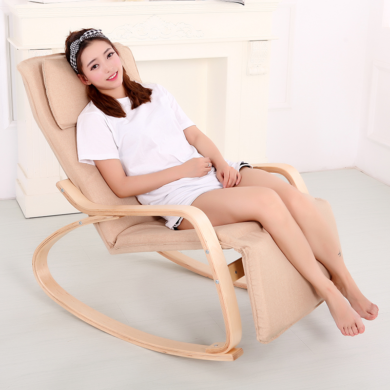 High Quality Wood Balcony Chair Lazy Leisure Chair Outdoor Comfortable Sun Lounger Rocking Chair Soft House Furniture modern wood rocking chair wooden furniture presidential rocker white finish indoor outdoor balcony porch garden adult armchair