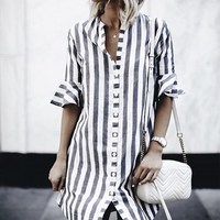 Fashion Women Turn Down Collar Summer Short Flare Sleeve Loose Work Blouse Spring Casual Striped Buttons