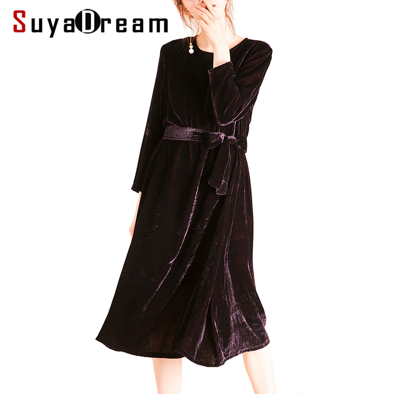 Women Winter Dress Natural Silk Velvet Belted Dresses for Women Mid Calf Length 2018 Fall Winter