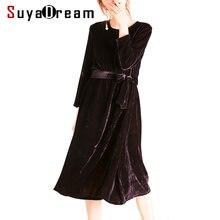 ef2ce29993d0 Mulheres Inverno Vestido de Veludo Com Cinto de Segurança Vestidos De Seda  Natural para As Mulheres Meados Bezerro Comprimento 2.