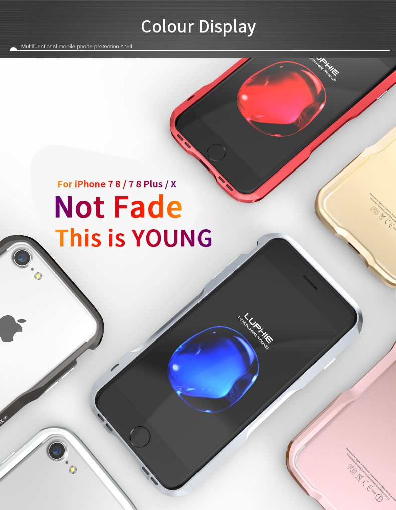 LUPHIE Shockproof Case Cover For iPhone X 8 7 Plus Metal Bumper Armor Case (16)