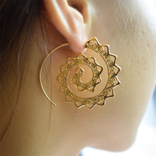 Crazy Feng Ethnic Hoop Earrings Exaggerated Circle Whirlpool Gear Earrings for Women Steam Punk Big Piercing Earrings Jewelry