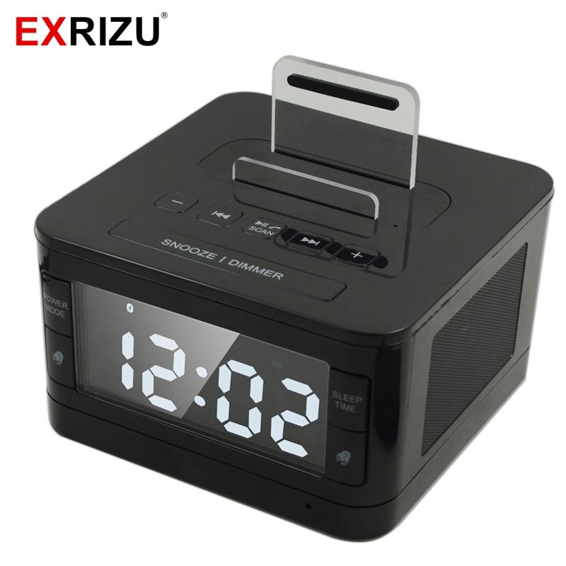 K7 Bluetooth Speaker Stereo HIFI Music Player Dock Playback Handsfree SNOOZE SLEEP AUX Alarm LCD Clock