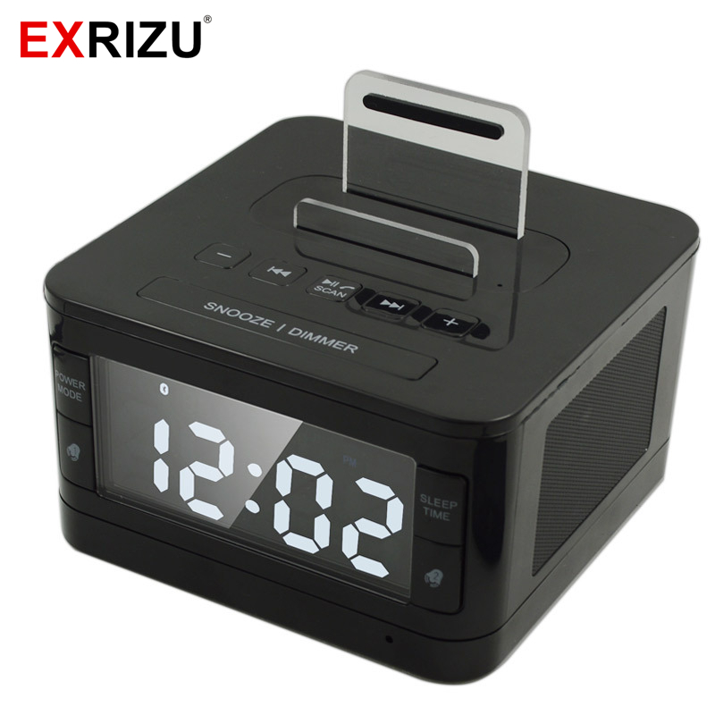 K7 Bluetooth Speaker Stereo HIFI Music Player Dock Playback Handsfree SNOOZE SLEEP AUX Alarm LCD Clock Radio for iPhone Android lcd digital fm radio alarm clock music touch station bluetooth stereo speaker for iphone 5 5s iphone6s 7