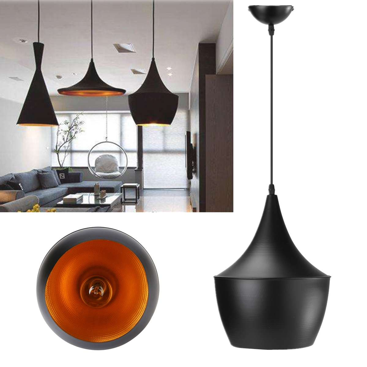 Modern Industrial Horn Shape Light Hanging Single Chandelier Lamp Lighting Restaurant Bar Bedroom Hanging Lamps 3 Type
