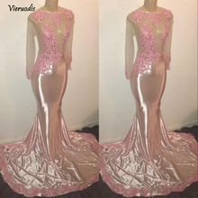 Sexy Long Sleeves Mermaid Prom Dresses 2019 New Pink Lace Appliques See Through Evening Gowns Custom цены онлайн