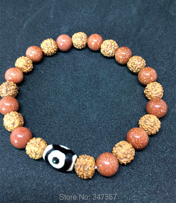 Tibetan Style Old Agate Three Eyes Dzi Bead Round Beads Pretty Bracelet