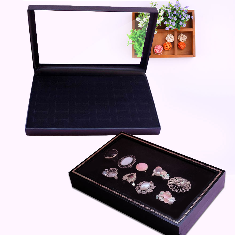 Fashion Women Lady 36 Slots Velvet + Plastic + Foam Ring Storage Clear Showcase Jewelry Display Box Stand Holder Organizer