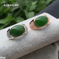 KJJEAXCMY Fine jewelry Fine 925 sterling silver inlaid natural hetian jasper men's ring color k gold craft authentic