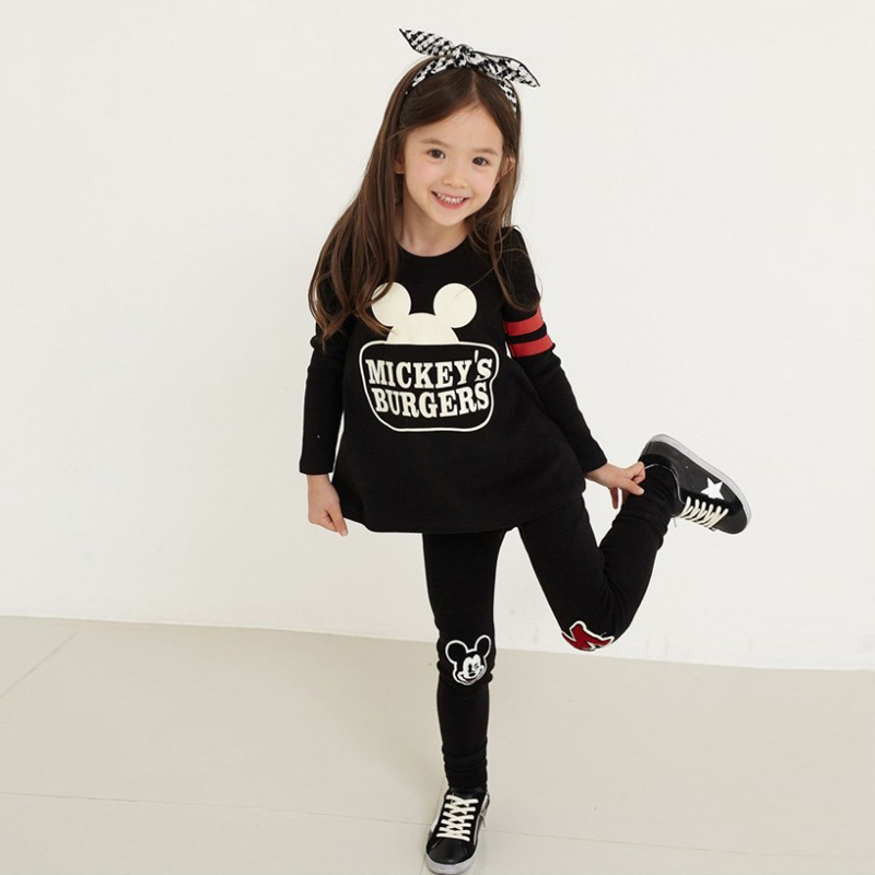 Girls Cotton Set Children's Clothing Mickey Pattern Spring and Autumn Long-sleeve Casual Wear Kids' 2 3 4 5 6