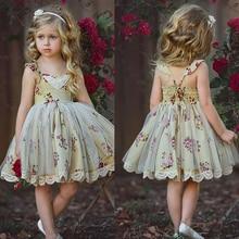 цены на Kids Dresses for Girls Girls Floral Dress Summer Baby Girl Sleeveless Lace Flower Dress Party Toddler Tulles Tutu Ball Gown  в интернет-магазинах