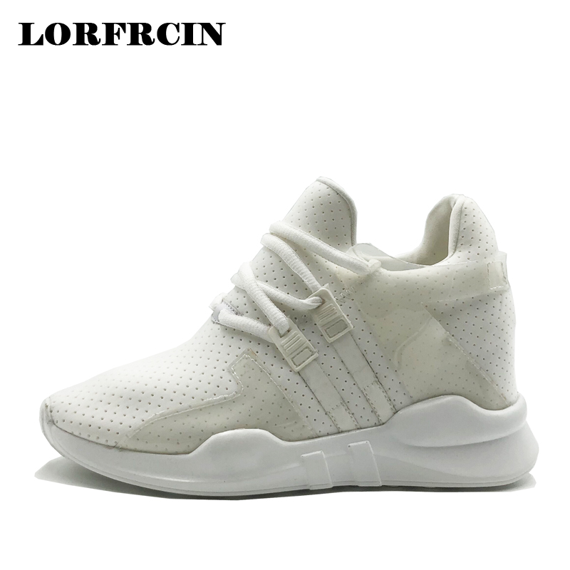 LORFRCIN Women's Sneakers Platform Hidden Heel Heel Lace Up Casual Shoes For Women White Black Light Canvas Shoes Woman Trainers glowing sneakers usb charging shoes lights up colorful led kids luminous sneakers glowing sneakers black led shoes for boys