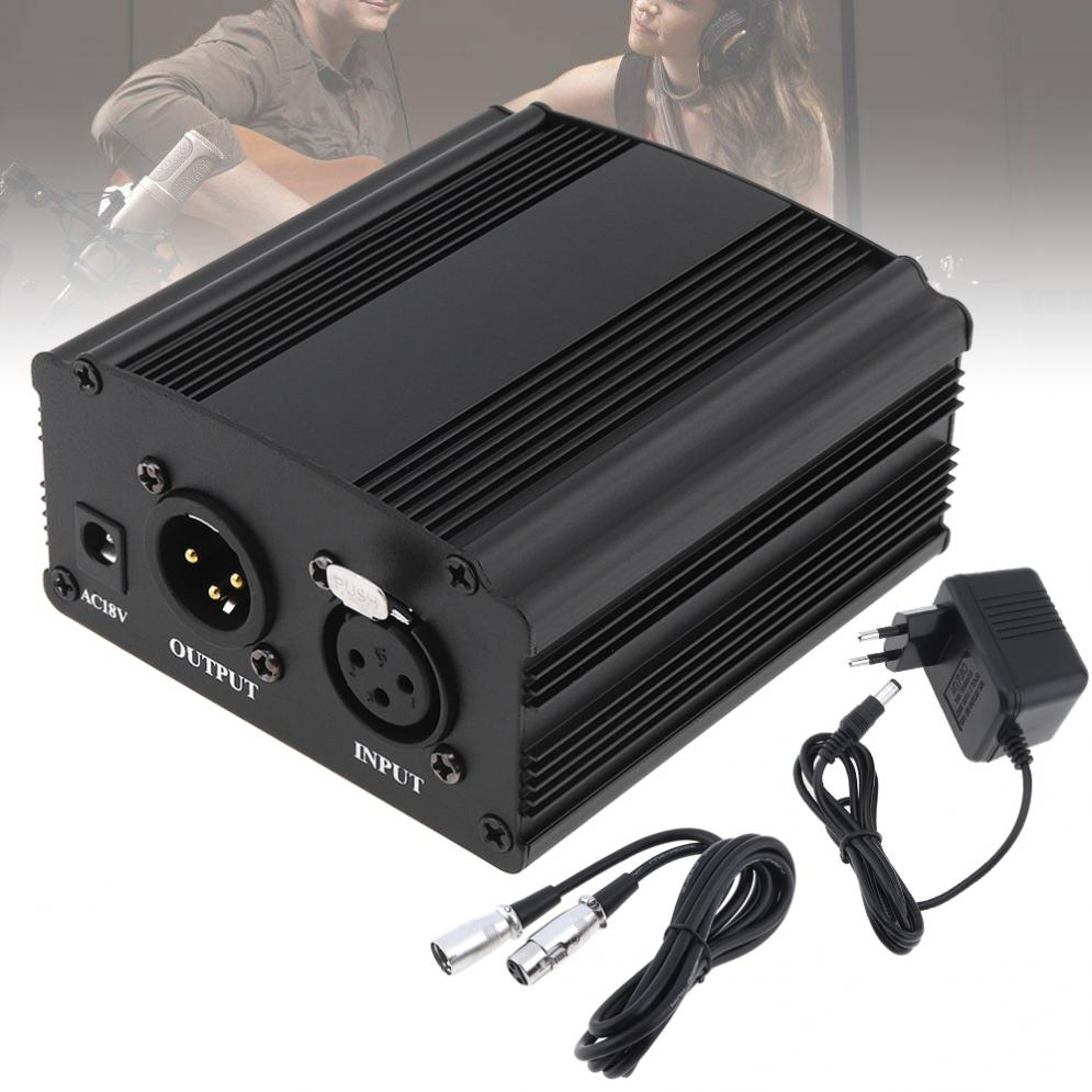 <font><b>48V</b></font> 1-Channel Phantom Power Supply with One XLR Audio Cable and AC220V EU <font><b>Adaptor</b></font> for Condenser Microphone Voice image