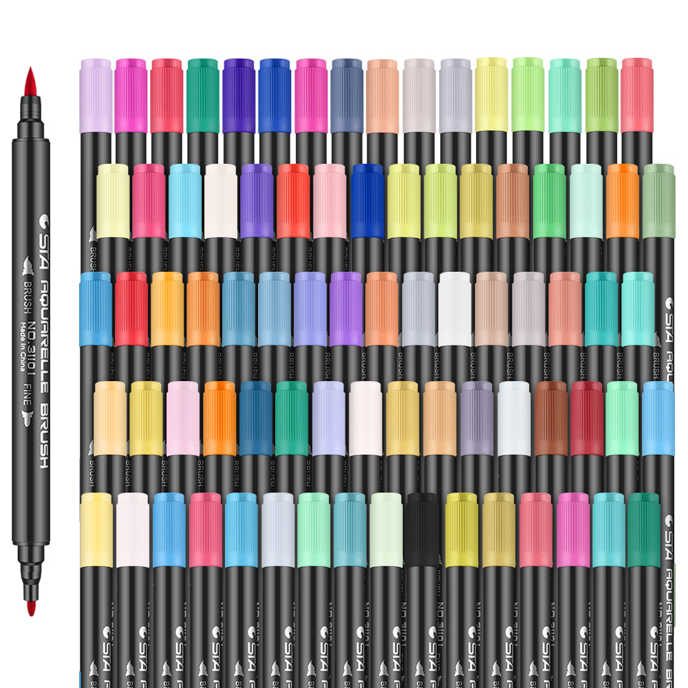 STA Dual Tips Water-based Art Marker Pens with Fineliner Tip 12/24/36/48/80 Color Set Water-soluable Brush Marker Pen