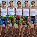 2016 новая мода лето горячая женщины короткая длина середина талией шорты случайные элегантный широкую ногу тотемы печати коротких штанишках BH063