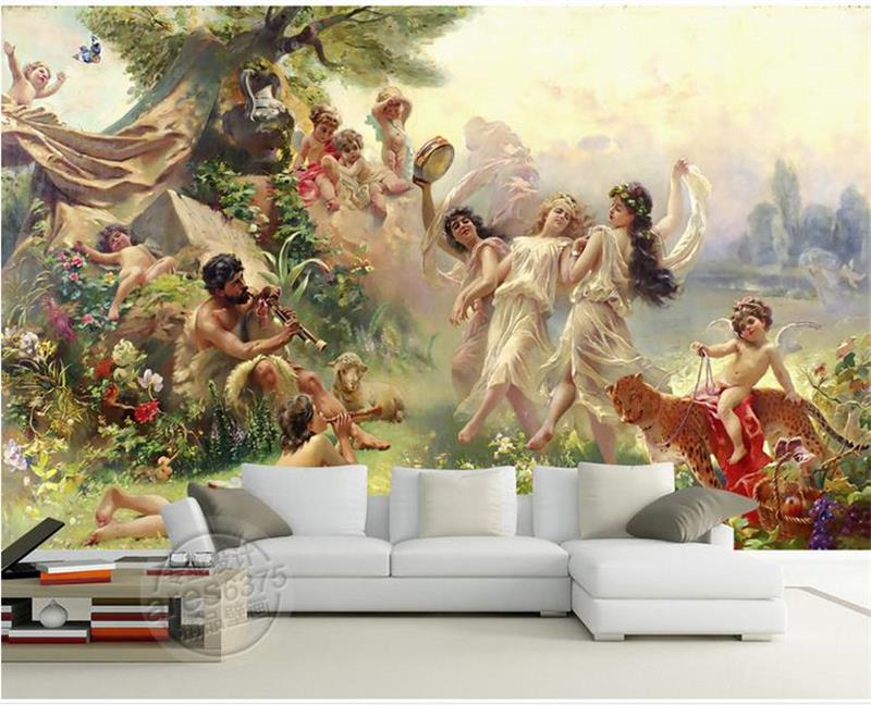 custom 3d photo wallpaper room mural Angel Paradise Party dance 3d photo painting TV background non-woven wallpaper for wall 3d Велюр