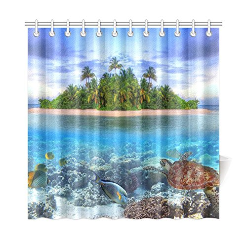Marine Life Island Home Decor,Sea Turtle Tropical Sea Ocean Polyester Fabric Shower Curtain Bathroom Sets 72 X 72 Inches