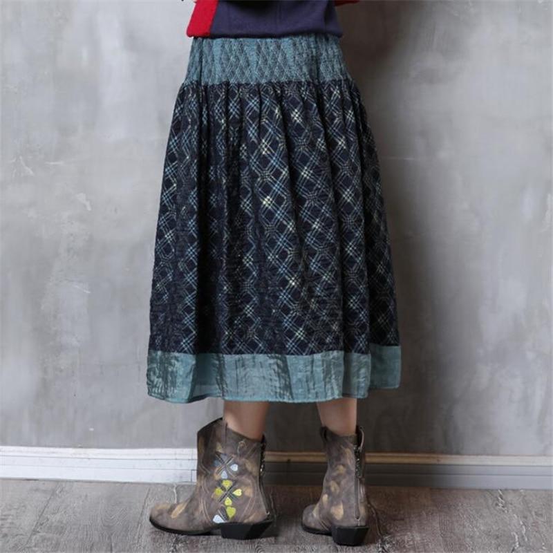 Blue Costura Señoras Cintura Impresas Elástica Faldas Maxi Retro Moda Larga Plisado Mujeres Midi Vintage Navy Falda Impresión Boho Plaid n0qSnZwfU