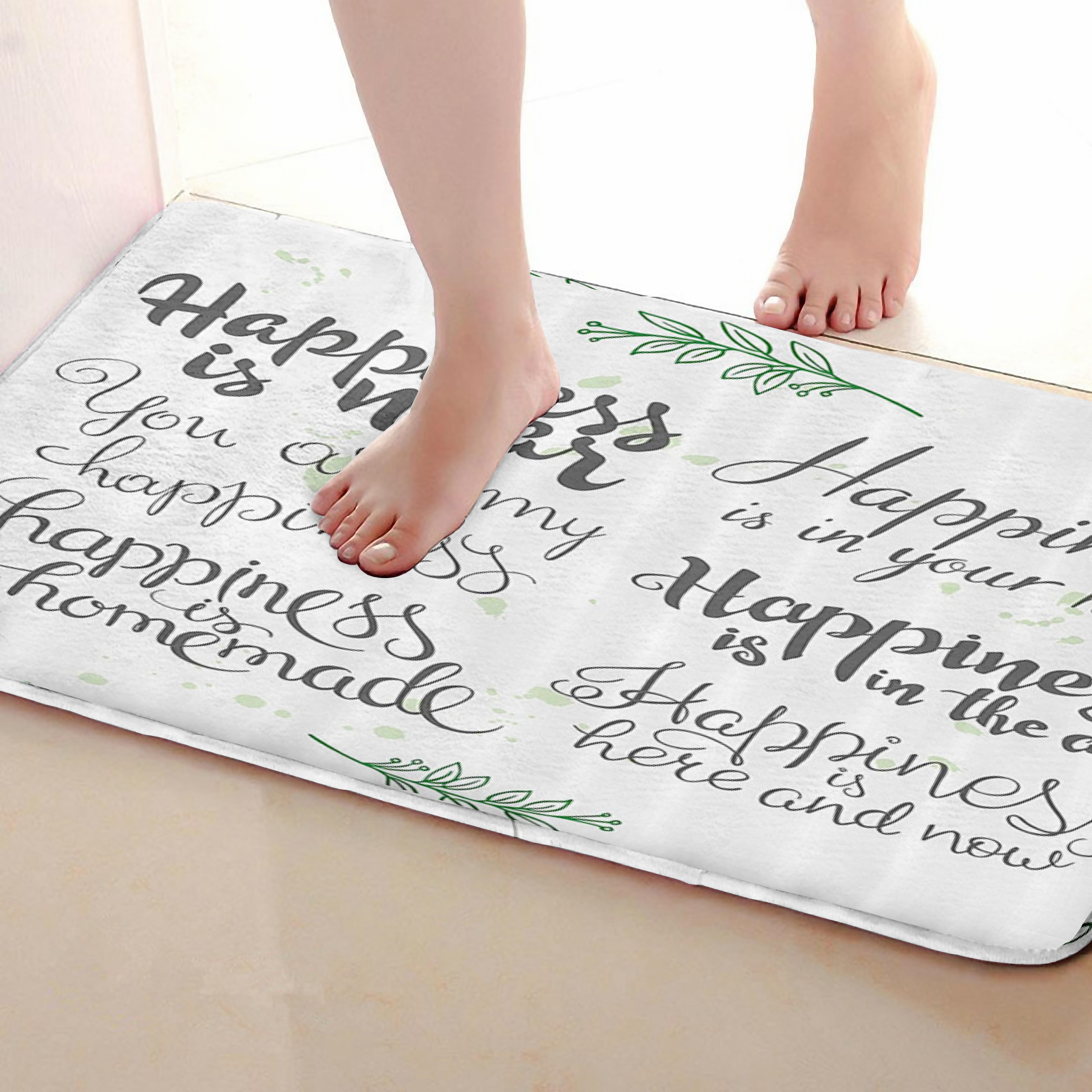 Happiness Style Bathroom Mat,Funny Anti skid Bath Mat,Shower Curtains Accessories,Matching Your Shower Curtain