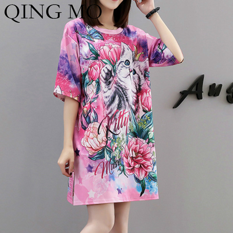 QING MO Women Cat Animal Print T Shirt Dress Women Appliques O Neck Short Sleeve Dress