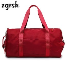 Female Women Travel Bag Korean Style Big Zipper Solid Nylon Pink Vintage Gym Sports Bags Foldable Bolsa