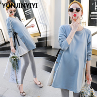 YUNJINYIYI Maternity Shirts Pregnant Women Tops Tees Premama Wear Clothing Pregnancy Clothes Autumn Maternity Long Sleeve Tops