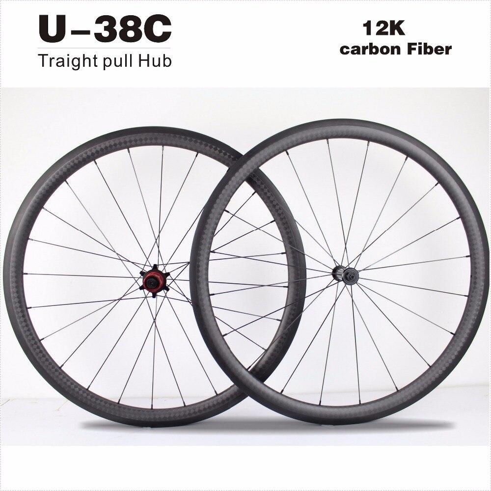 Чудо велосипеды 2017 U-образный 27мм*38 мм Ширина дороги углерода колеса велосипеда колеса 700c китайский углерода колеса Клинчер