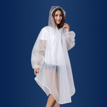 2016 Brand Polka Dots Transparent Raincoat Women Cagoule Waterproof Poncho Travel Riding Clothes Hooded Raincoat With
