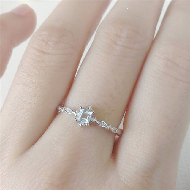 ROMAD Dainty Ring for Ladys Geometric Blue Crystal Wedding Band Simple Korean Engagement Finger Ring 1