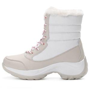Image 2 - 2019 נשים שלג מגפי חורף מגפיים חמים עבה תחתון עמיד למים פלטפורמת קרסול מגפי נשים עבה פרווה כותנה נעלי גודל 35 42
