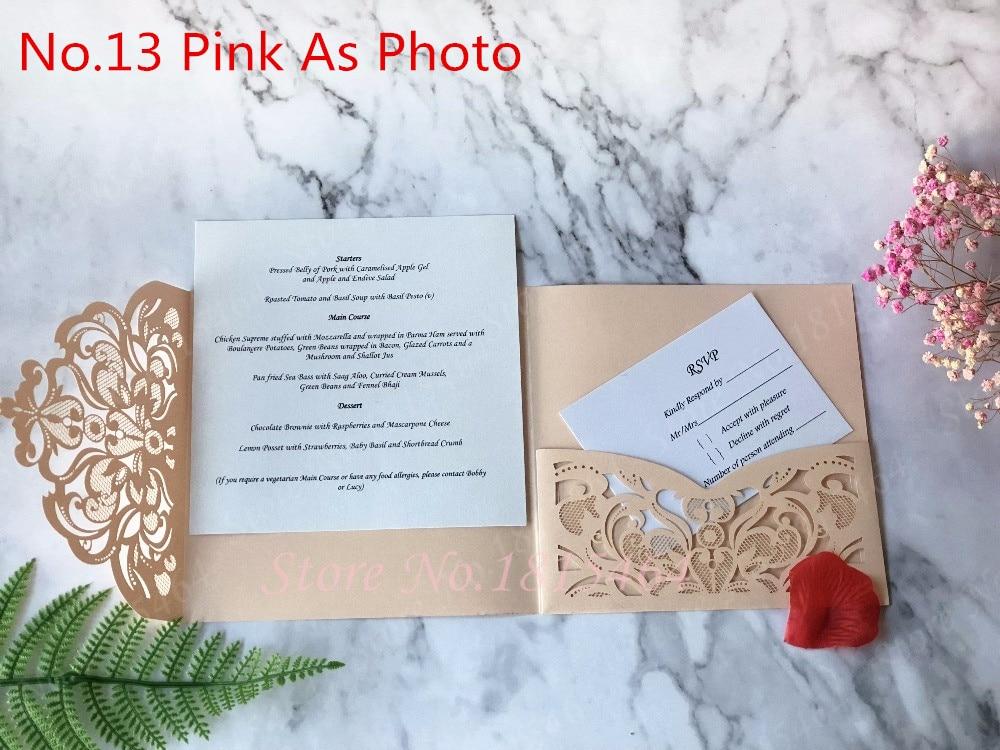 50 pcs carré fleurs Tri pli personnalisé ensemble de papier découpe Laser voeux Invitations de mariage cartes RSVP fournitures de fête-in Cartes et invitations from Maison & Animalerie    1