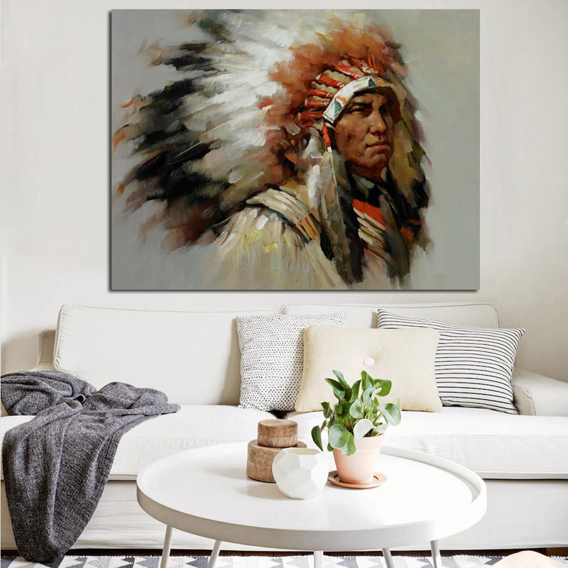 YWDECOR Abstract Native indian Feathered Portrait Canvas Painting Poster and Print Pop Art Wall Picture for Living Room(China)