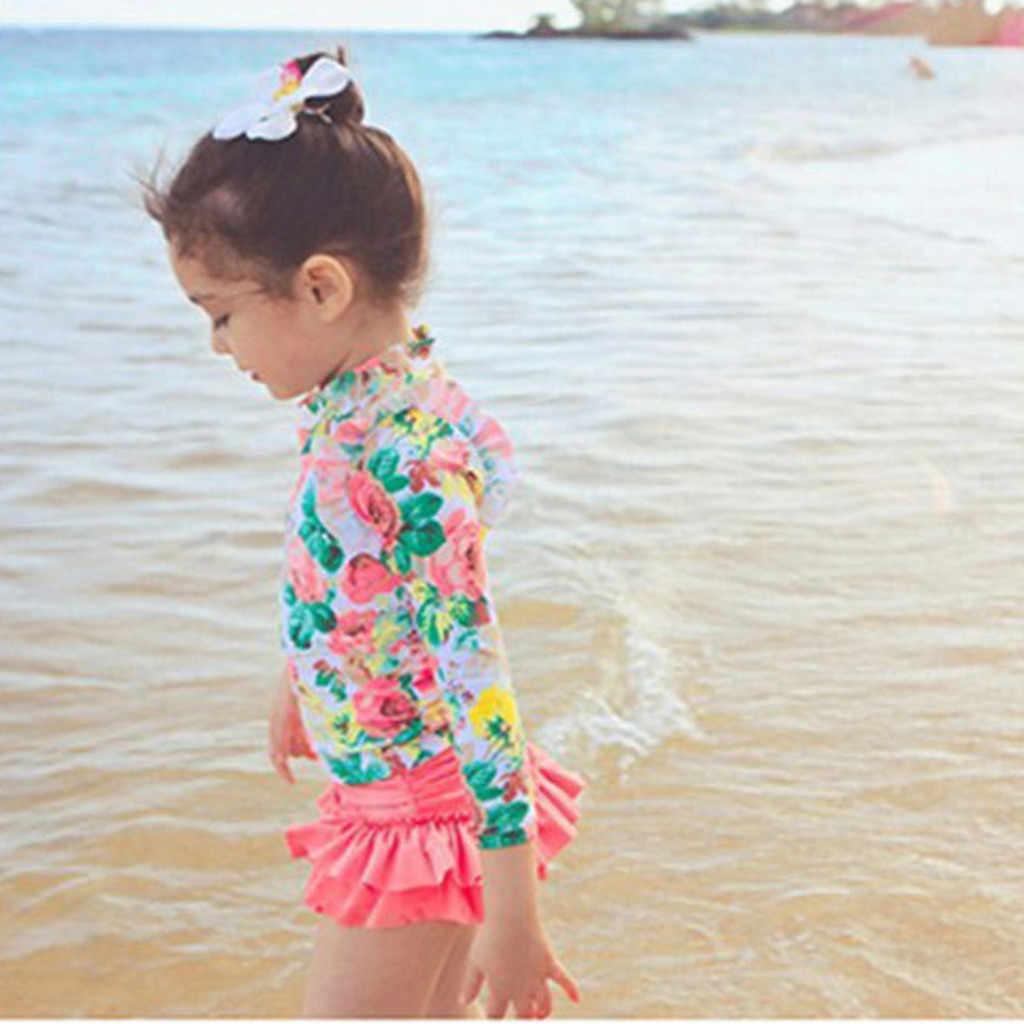 ARLONEET ילדים ילדה בגדי ים פרחוני ארוך שרוול בגד ים להלביש סט תלבושת בגדי בגדי ים לתינוקות בנות 19May03 P35